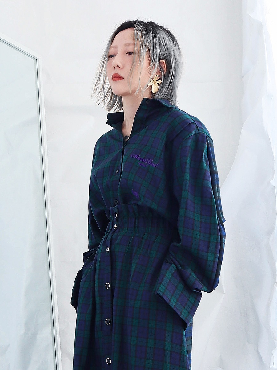 BLOOMING CHECK SHIRT - GREEN