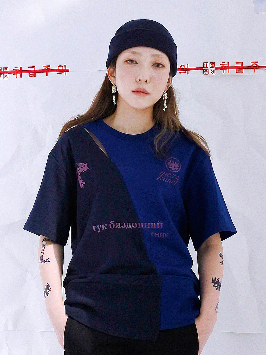 [17S/S] SPLITED T-SHIRT NAVY