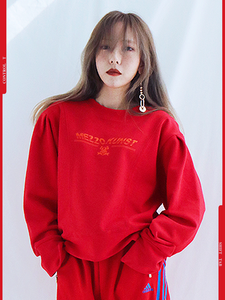 [40%OFF] PUFF SWEAT SHIRT - RED