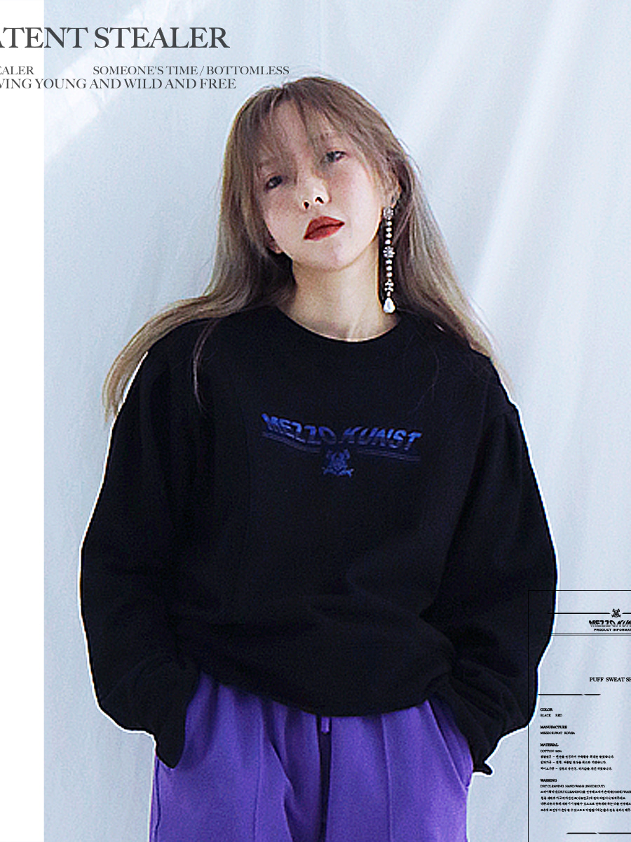 [40%OFF] PUFF SWEAT SHIRT - BLACK