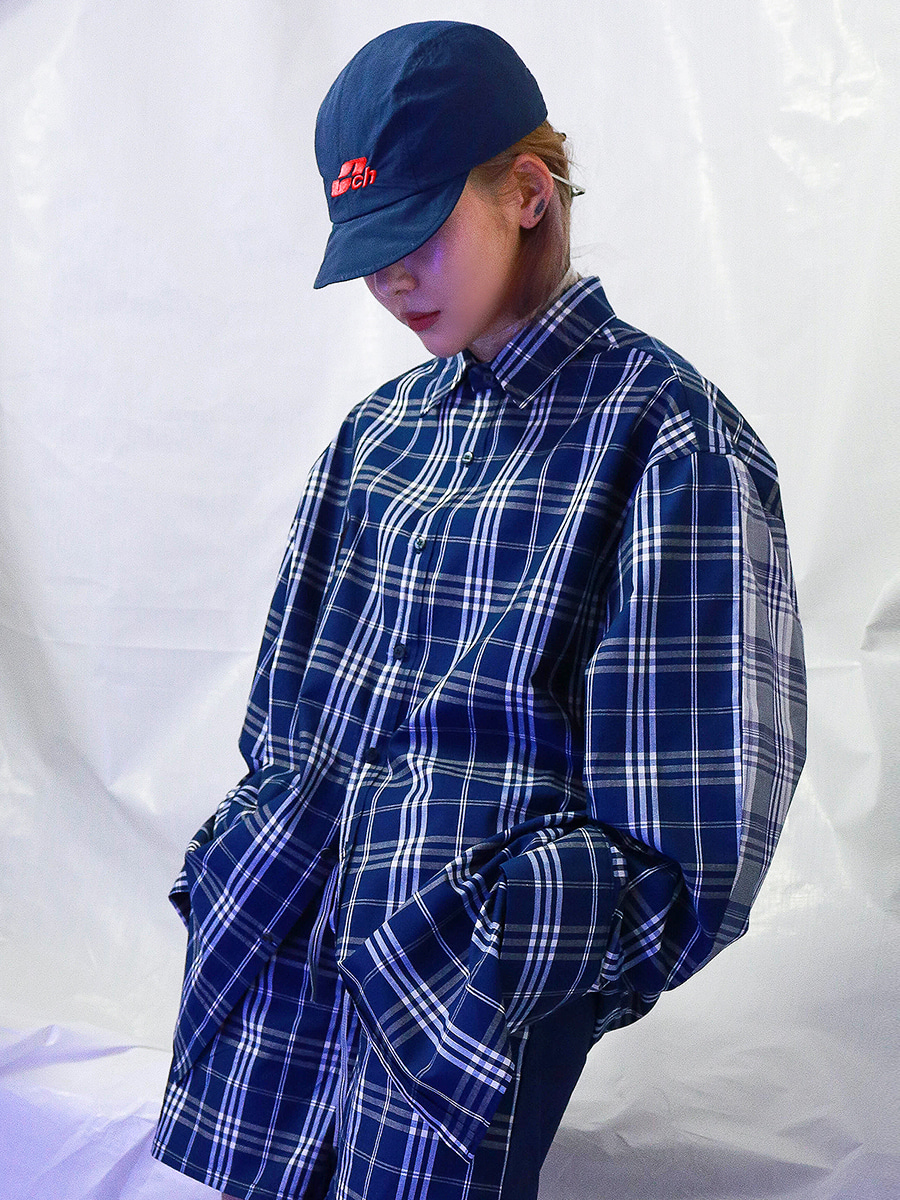 LOGO CHECK MIX SHIRT - NAVY