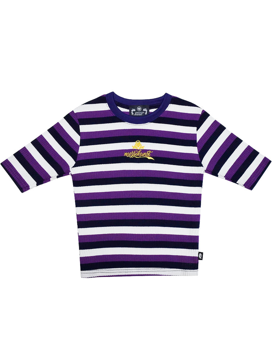 [40%OFF] STRIPE CROP T-SHIRT PURPLE