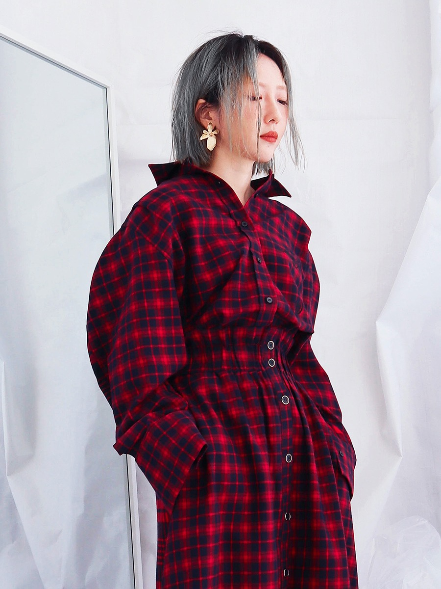 [30%OFF] BLOOMING CHECK SHIRT - RED