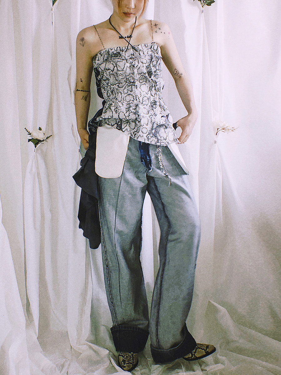 crack denim top - white