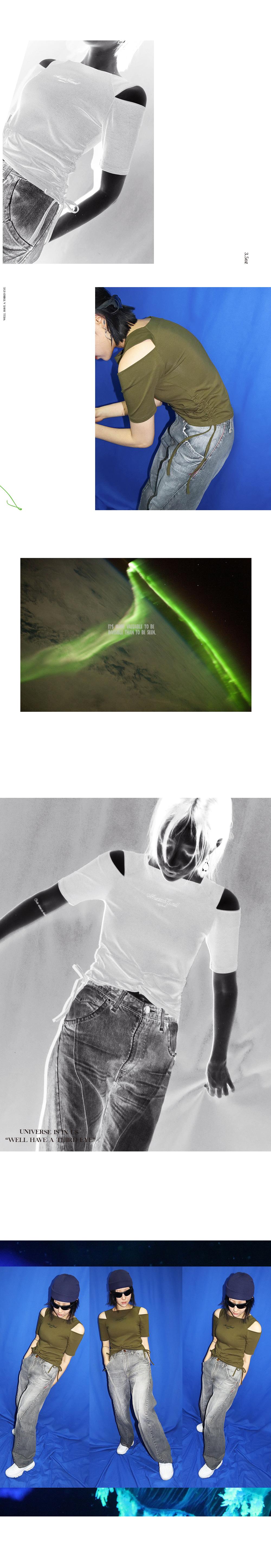 메조쿤스트(MEZZOKUNST) 힙스터 슬릿 티셔츠 - KHAKI