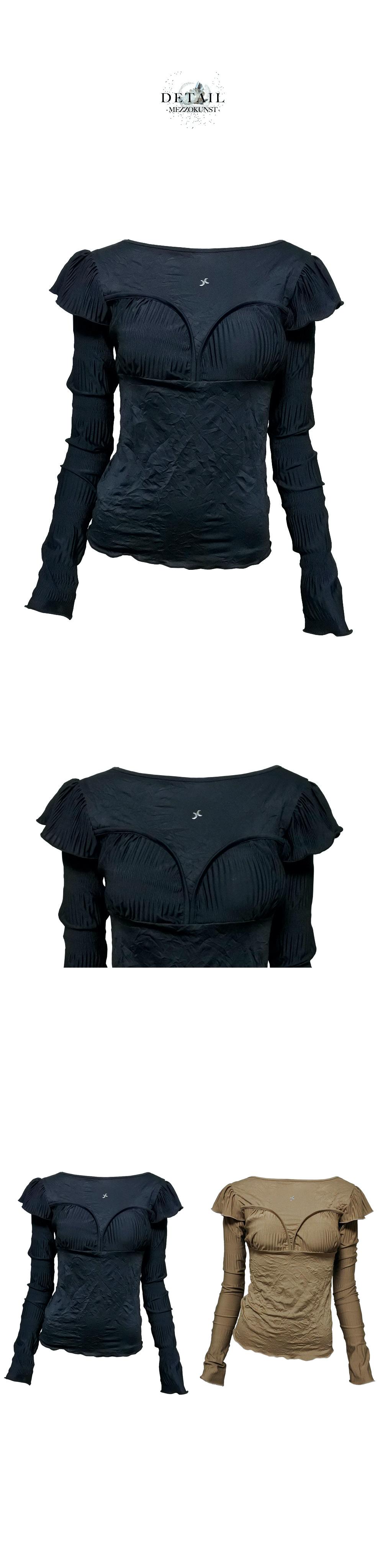 메조쿤스트(MEZZOKUNST) 링클 주름 티셔츠 - 블랙